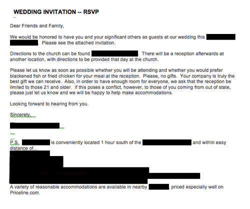 Emailed Wedding Invitation