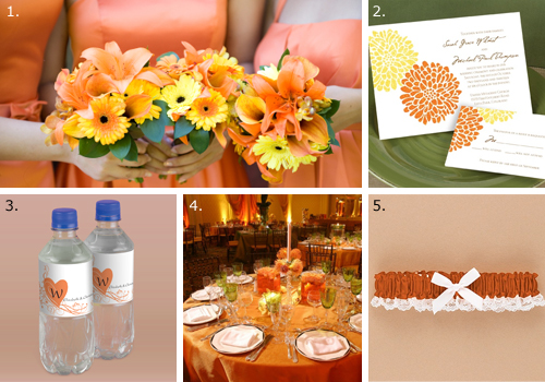 A tangerine wedding color scheme will be bright fresh even tropical in